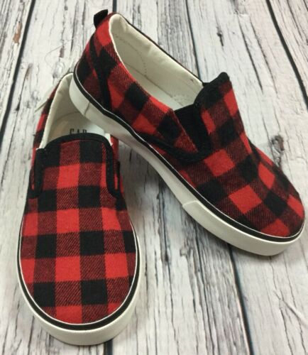 Nwt Baby Gap Boys Size 13 Red /& Black Plaid Canvas Slip-On Shoes