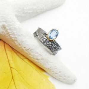 Blautopas-blau-oval-gold-schwarz-Design-Ring-17-5-mm-925-Sterling-Silber-neu