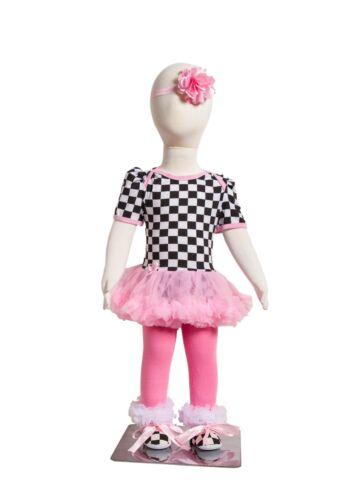 S-5 Infant Girl/'s Short-Sleeve Pink//Black//White Checkered  Print 4 Piece Set