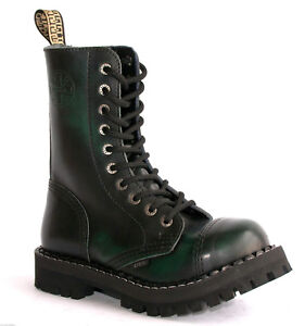 BOOTS-STEEL-TOE-RANGERS-10-HOLE-Green-Rub-Off-Gothic-Punk-Skinhead