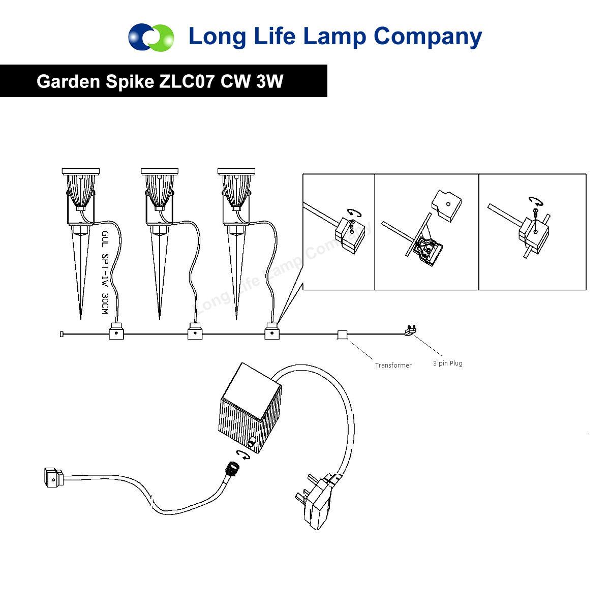 led garden spike light kit 12v 3w led spike easy install warm or cool white