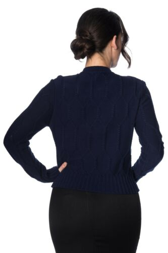 Women/'s Navy Midnight Daze Vintage Retro 50/'s Cable Knit Cardigan Banned Apparel