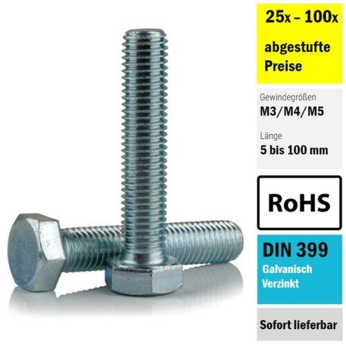 Hex bolts screws machine DIN 933-M3 M4 M5-Galvanised 25x