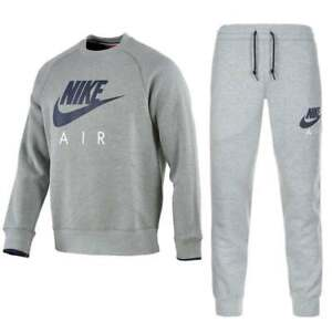 3831dd13e4d6 Details about Nike New Men s Roundnick Air Max Fleece Full Tracksuit Grey