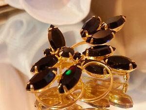 Stunning-Vintage-70-039-s-Black-Glass-Navette-Rhinestones-In-Gold-Tone-Brooch-205m7