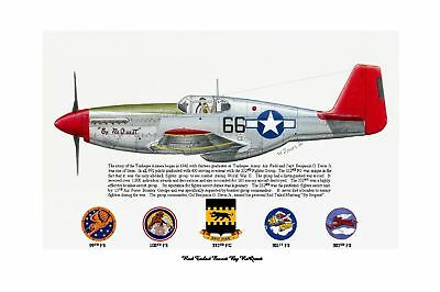 """Tuskegee Airmen BO Davis Red Tailed P-51 /""""By ReQuest/"""" Art Prints by Willie Jones"""