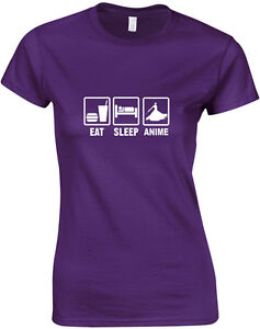 Eat-Sleep-Anime-inspired-Ladies-Printed-T-Shirt-Short-Sleeve-Cotton-Women-Tee