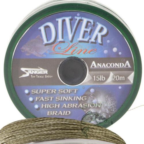 Anaconda Diver Line 20m 15lb Karpfenvorfach Carp Hair Rig geflochtene Schnur NEU