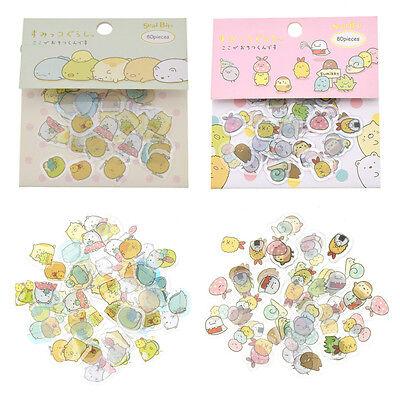 80 Pcs Sumikko Gurashi Stickers Flakes Bag Sack Animals DIY Scrapbooking Craft