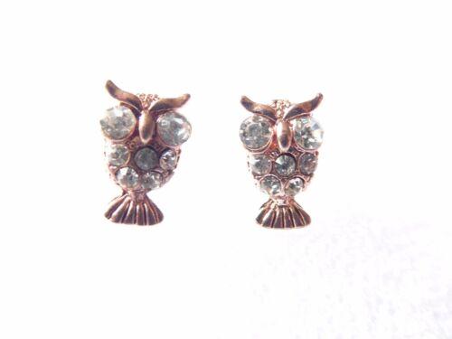 Bastante Rosa Oro Estrás Pendientes Búho pájaro austriaco Idea de Regalo, Stud perforada