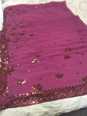 Bollywood Indiano Paillettes Saree Rosa Floreale Paillettes Lavoro Con Choli Top-mostra Il Titolo Originale Alta Resilienza