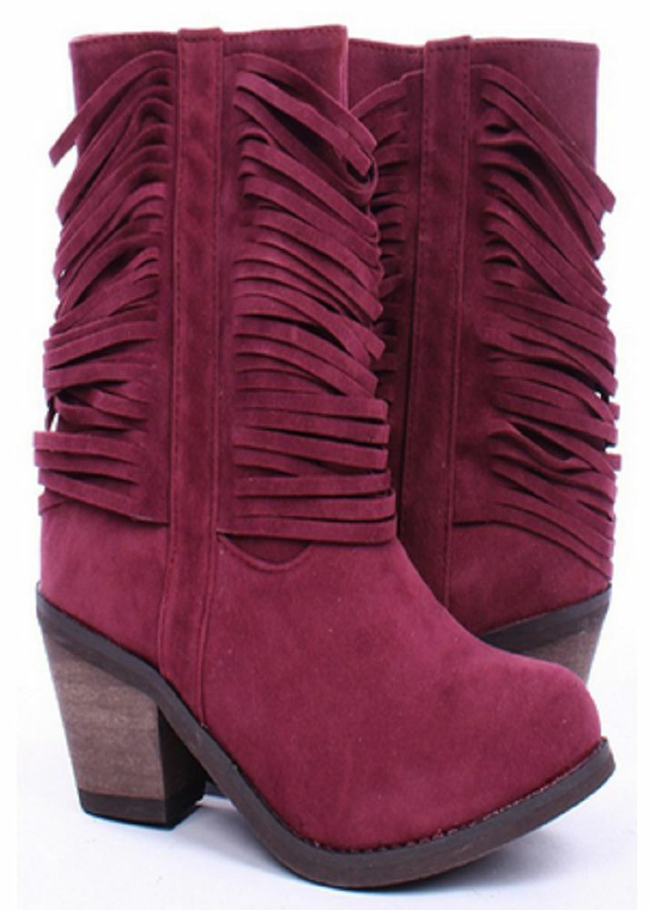 REFRESH WINE BOOTIES w  FRINGES  SIZE 10