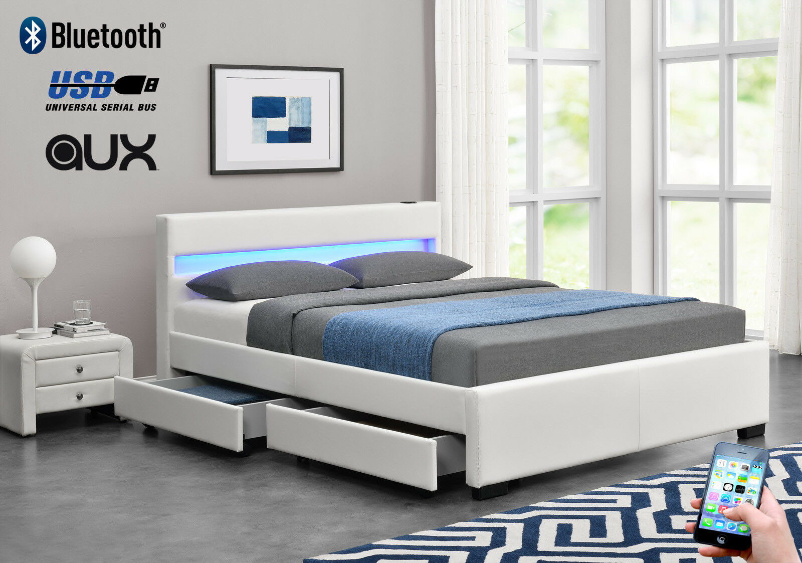 Exclusive harmin bluetooth white leather led music 4 for Exclusive beds