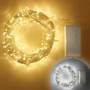 200er Led Deko Lichterkette Weihnachten Transparentes Kabel Timer