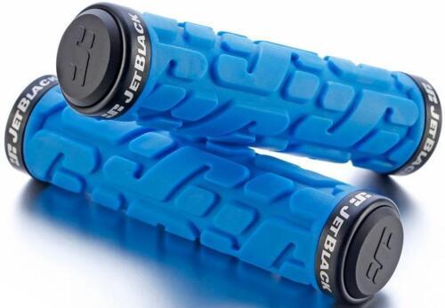 JetBlack Rivet MTB Locking Handlebar Grips Bike Lock-On Grip Jet BLUE