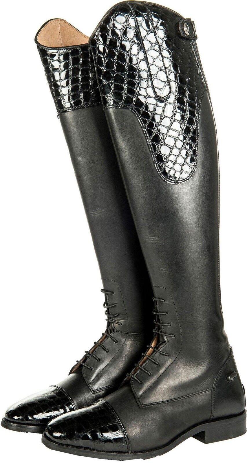 HKM Ladies Croco Elasticated Invoegen Standard Wifth Leer Long Riding laarzen
