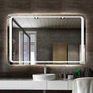 Large Rectangle Oblong Led Illuminated Bathroom Wall Mirror Sensor Fog Demister Ebay