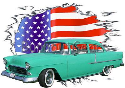 1955 Teal Chevy Chevy 210 Sedan Custom HotRod Garage T-Shirt 55 Muscle Car Tee/'s