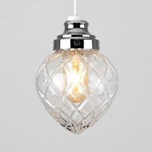 Efecto-de-cristal-Cromado-Moderno-Cristal-Lampara-de-techo-LED-de-ajuste-facil-Bombilla-Colgante