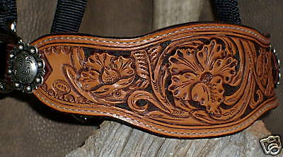 Gorgeous US Made HAND CARVED 3  FLOWER TOOLING, Bronc Halter. G&E