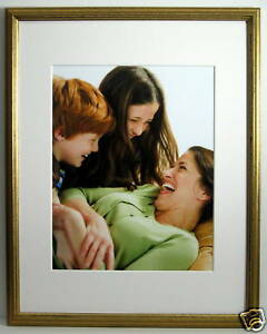 11x14-Gold-Solid-Wood-Picture-Frame-White-Mat-for-8x10-Image-New-11-x-14