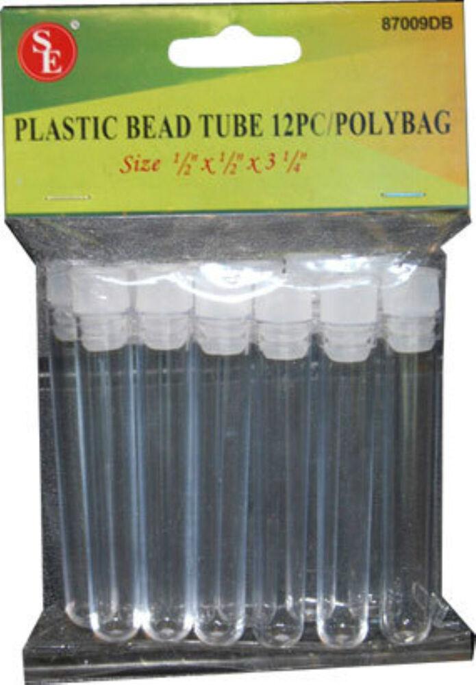12 PLASTIC BEAD TUBE STORAGE CONTAINERS