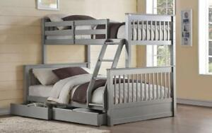 ***BLOWOUT SALE**** TWIN/DOUBLE DETACHABLE SOLID WOOD BUNK BED (GREY)**LOWEST PRICES Regina Regina Area Preview