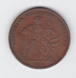 1858-Token-1-Penny-Professor-Holloway-039-s-Pills-amp-Ointment-London-England-GB