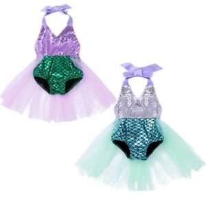 9bb4885819 Toddler Baby Girl Mermaid Costume Romper Sea-maid Bikini Tutu Skirt ...