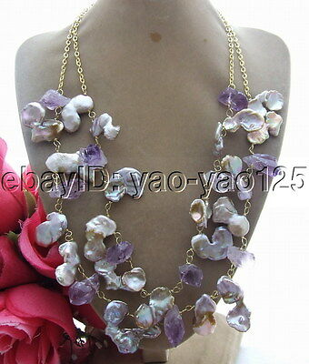 R102209 25mm Keshi Pearl Rough Amethyst Necklace