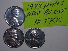 wheat penny lotK 1943,1943-D,1943-S CH UNC LINCOLN STEEL CENT BU SET 1943S,1943D