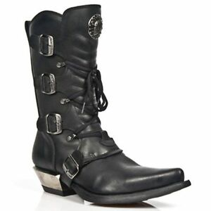 NEWROCK LADIES New Rock TR004-S1 Black Boot Leather Buckle Lace Knee Zip Boots