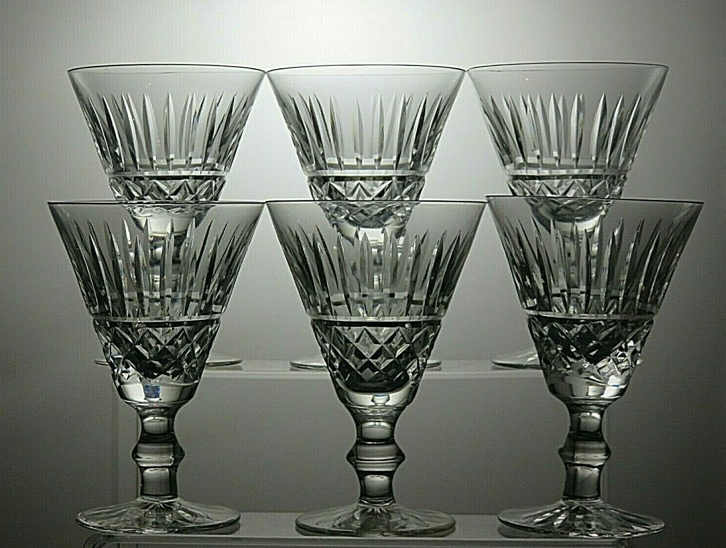 WATERFORD CRYSTAL  TRAMORE  CUT WINE GLASSES SET OF 6 - 5  TALL- SIGNED