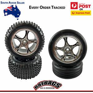 Traxxas-Bandit-Front-amp-Rear-2-2-034-Alias-Tyres-Chrome-Tracer-Wheels-2470R-2471R