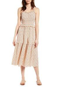 NWT-Angie-Smocked-Ruffle-Moss-Print-Floral-Summer-Fall-Midi-Boho-Dress-S-M-L