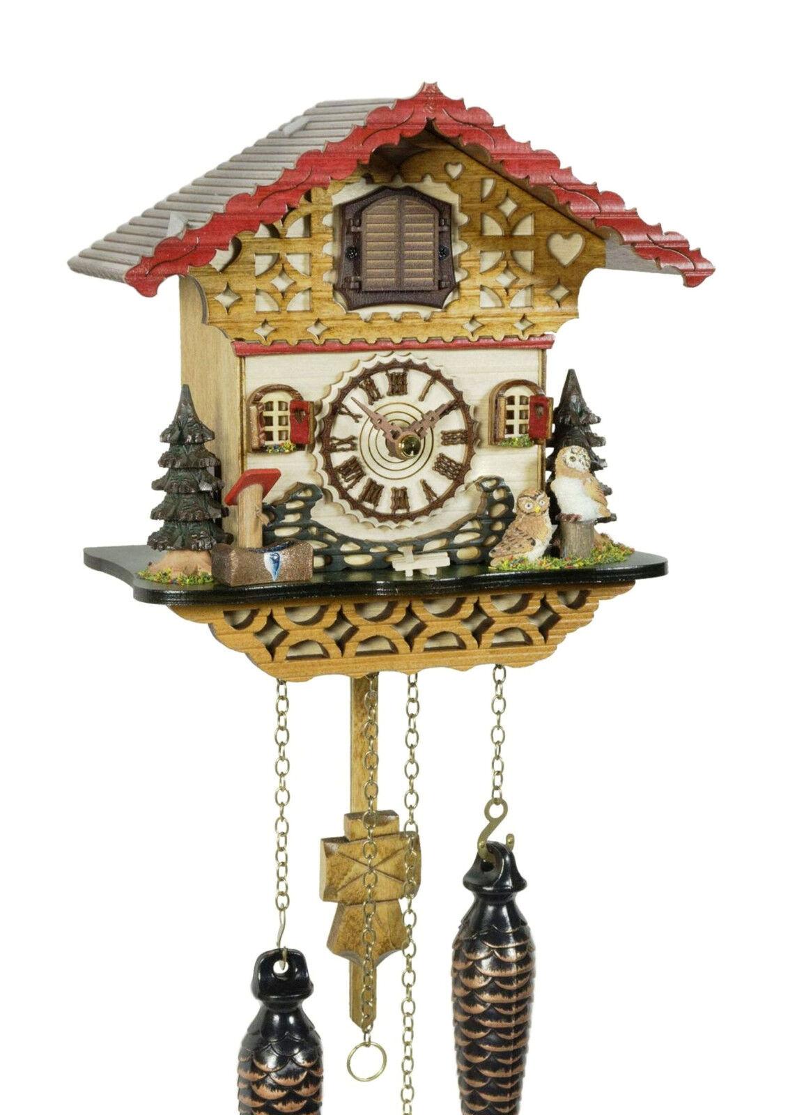 Cuckoo clock black forest quartz german music chalet style wood new owls new ebay - Wooden cuckoo clocks ...