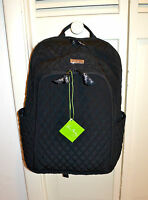 $129 Vera Bradley Large Laptop Backpack In Classic Black Quilted Fabric