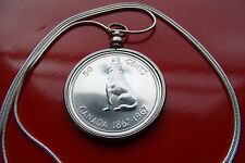 "Howling Wolf CANADA LARGE 32mm SILVER COIN PENDANT 30"" 925 Sterling Silver Chain"