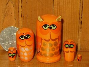 Russian-nesting-dolls-Matryoshka-TINY-ORANGE-OWL-BIRDS-5-MINIATURE-Babushka
