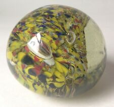 Vintage Art Glass Paperweight Yellow Red Black White As Is