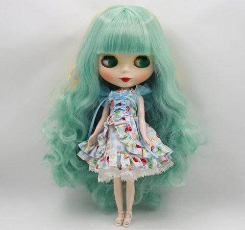 "Takara 12/""Neo Blythe nude Doll From Factory blue long wave Hair Matte face T316"
