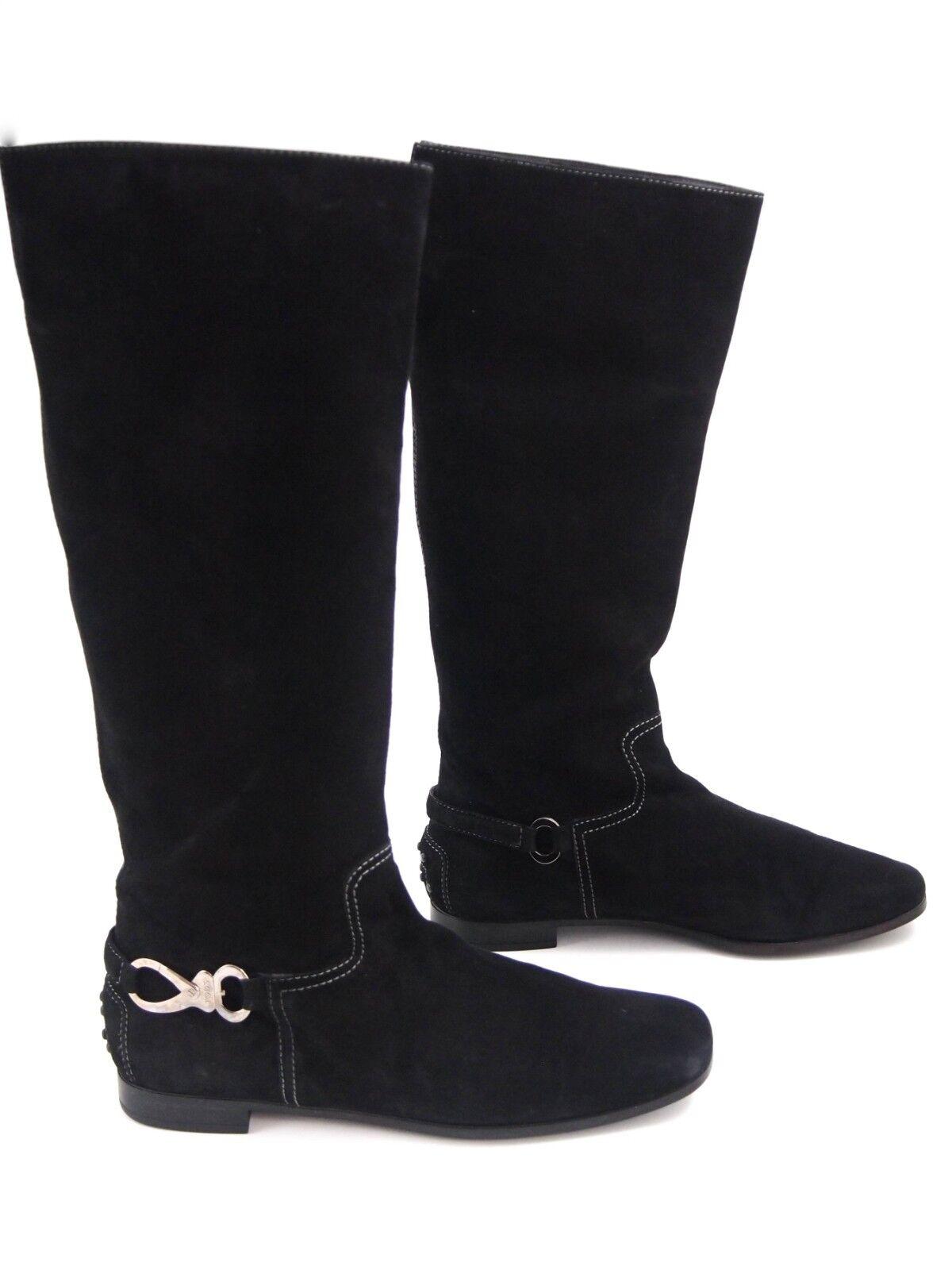 Tod's Tod's Tod's knee high Stiefel, schwarz suede, damen Größe US 8.5 EU 38.5  870 389a84