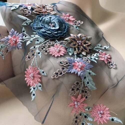 3D Beaded Floral Wedding Lace Applique Diy Patch Applique Trim for Bridal Dress