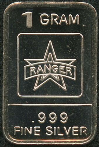 1 Gram .999 Fine Pure Solid Silver Bar Army Ranger