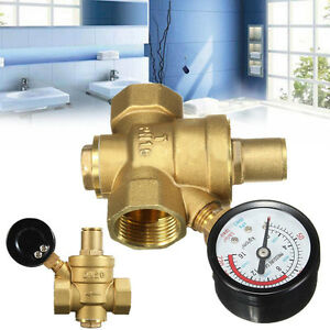 dn20 npt 3 4 39 39 adjustable brass water pressure regulator reducer w gauge meter ebay. Black Bedroom Furniture Sets. Home Design Ideas