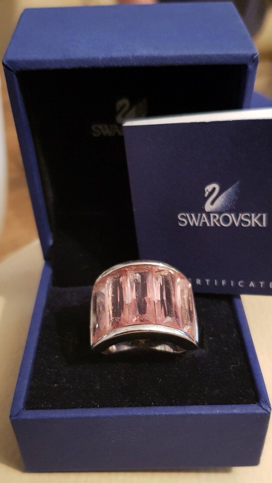 Genuine Swarovski pink crystal ring in box with certificate, Stunning swan stamp