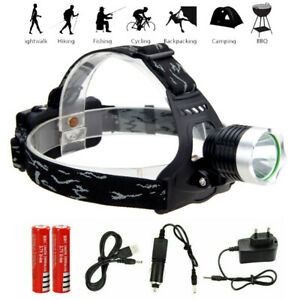 90000LM 5X T6 LED Headlamp+USB Rechargeable Headlight Flashlight Torch Hiking UK