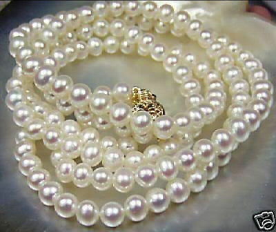 """Beautiful 7-8mm Genuine White Akoya Cultured Pearl Necklace 25"""""""