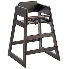 Ready-to-Assemble Stacking Restaurant Wood High Chair with Dark Finish