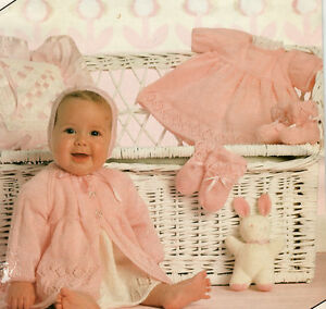 f2e3f0311f98 Baby Matinee Jacket Dress Bonnet Bootees Mitts 16-20